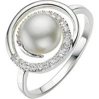 A B Davis Sterling Silver White Pearl Cubic Zirconia Swirl Ring, N