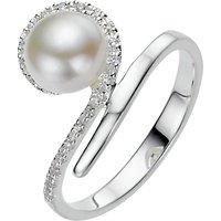A B Davis Sterling Silver White Pearl Cubic Zirconia Tiara Ring, N
