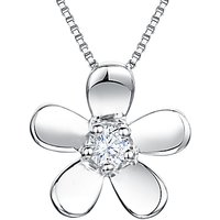 shop for Jools by Jenny Brown Cubic Zirconia Flower Pendant Necklace, Silver at Shopo