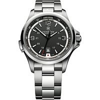 Victorinox 241569 Mens Night Vision Bracelet Strap Watch, Silver/Black