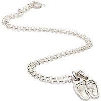 Fingerprint Jewellery Two Little Footprint Charms Necklace, Silver