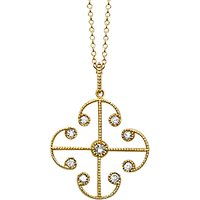 shop for London Road 9ct Yellow Gold Portobello Small Diamond Lattice Pendant Necklace, Gold at Shopo