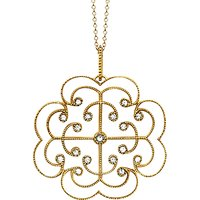 shop for London Road 9ct Gold Portobello Large Diamond Lattice Pendant Necklace at Shopo