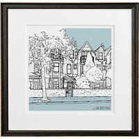 Letterfest Personalised House Illustration, Black Frame, 44.8 x 44.8cm