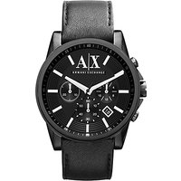 Armani Exchange AX2098 Men's Chronograph Date Leather Strap Watch, Black