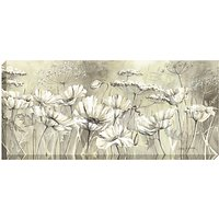 Catherine Stephenson - Neutral White Poppies Print on Canvas, 60 x 135cm