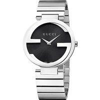 Gucci YA133307 Womens Interlocking G Bracelet Strap Watch, Silver/Black