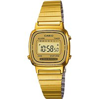 Casio LA670WEGA-9EF Womens Core Digital Alarm Chronograph Bracelet Strap Watch, Gold