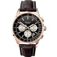 Sekonda 3413.27 Mens Chronograph Leather Strap Watch, Brown/Black