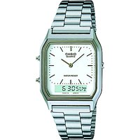 Casio AQ-230A-7DMQYES Unisex Core Alarm Chronograph Combo Display Bracelet Strap Watch, Silver/White