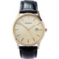 Sekonda 3697.27 Mens Date Leather Strap Watch, Black/Cream