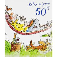 Woodmansterne Man Lying in Hammock 50th Birthday Card