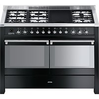 Smeg A4-BL-8 Dual Fuel Range Cooker, Gloss Black