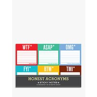 Knock Knock Honest Acronyms Sticky Notes, Pack of 6