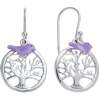 Martick Sterling Silver Tree of Life Bird Earrings, Purple