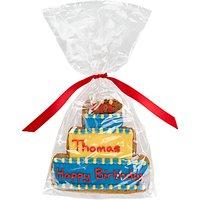 Image on Food Personalised Happy Birthday Cake Boy Gingerbread, Pack of 10