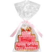 Image on Food Personalised Happy Birthday Cake Girl Gingerbread, Pack of 10