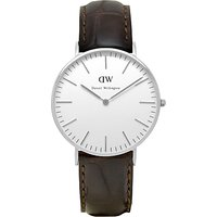 Daniel Wellington 0610DW Womens Classy York Leather Strap Watch, Brown Croc