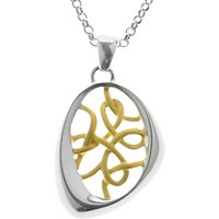 Nina B Sterling Silver Asymmetric Gold Plated Threads Pendant, Silver/Gold