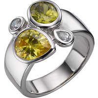 A B Davis Sterling Silver Peridot And Citrine Ring