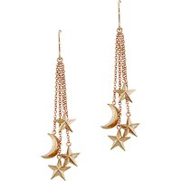 shop for London Road 9ct Rose Gold Moon and Stars Drop Earrings, Rose Gold at Shopo
