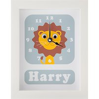 Stripey Cats Personalised Livingston Lion Framed Clock, 23 x 18cm, Blue