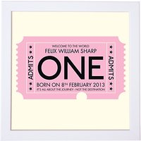 Modo Creative Personalised Admission Ticket Framed Print, 18 x 18cm