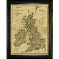 Brookpace, Vintage Maps Collection - British Isles Framed Print, 117 x 91cm