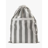 John Lewis Chambray Stripe Laundry Bag, Grey
