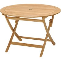 John Lewis Longstock Round 4-Seater Foldable Outdoor Table, FSC-Certified (Teak), Natural