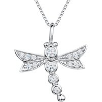 shop for Jools by Jenny Brown Sterling Silver Pave Dragonfly Pendant, Rhodium at Shopo