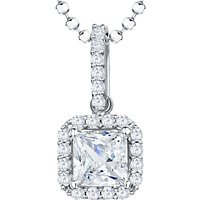 Image of Jools by Jenny Brown Sterling Silver Cubic Zirconia Square Surround Pendant, Rhodium