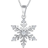 shop for Jools by Jenny Brown Sterling Silver Cubic Zirconia Snowflake Pendant at Shopo