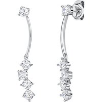 Jools by Jenny Brown Rhodium Plated Silver Cubic Zirconia Long Drop Earrings