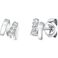 shop for Jools by Jenny Brown Rhodium Plated Silver Cubic Zirconia M Shape Earrings at Shopo