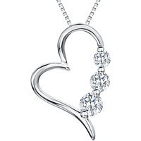 shop for Jools by Jenny Brown Rhodium Plated Silver Cubic Zirconia Modern Heart Shaped Pendant at Shopo