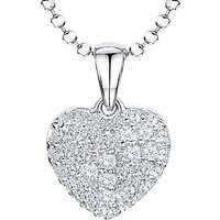 Jools by Jenny Brown Rhodium Plated Silver Cubic Zirconia Heart Pendant