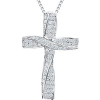 Jools by Jenny Brown Rhodium Plated Silver Cubic Zirconia Twisted Cross Pendant