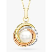 shop for IBB 9ct Three Colour Gold Diamond Cut Knot and Pearl Pendant Necklace, Multi at Shopo