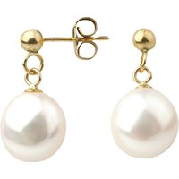A B Davis 9ct Gold Baroque Freshwater Pearl Drop Earrings