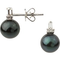 A B Davis 9ct White Gold Diamond Cultured Pearl Stud Earrings