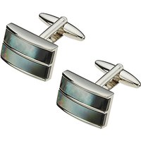 John Lewis Double Band Mother of Pearl Cufflinks, Mother of Pearl/Silver
