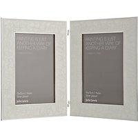 John Lewis Amy Silver Plated Enamel Double Photo Frame, 4 x 6 (10 x 15cm)