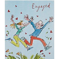 Woodmansterne Man And Woman Leaping Through Flowers Engagement Card