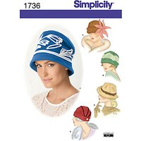 Simplicity Hats In Three Sizes Sewing Leaflet, 1736, A