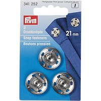 Prym Sew-On Snap Fasteners, 21mm, Pack of 3