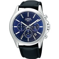 Lorus RT389AX9 Mens Chronograph Date Leather Strap Watch, Black/Blue