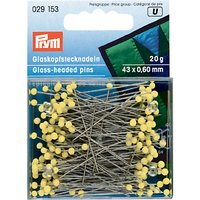Prym Glass Headed Pins, 60mm, 20g, Yellow