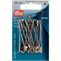 Prym Safety Pins, 50mm, Pack of 12, Silver