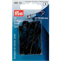 Prym Safety Pins, 50mm, Pack of 18, Black